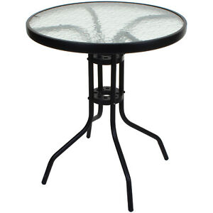 ROUND BISTRO TABLE BLACK FRAME GLASS TOP OUTDOOR GARDEN PATIO FURNITURE CAFE NEW