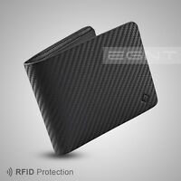 EGNT Carbon Bifold Wallet RFID LUXURY GENUINE LEATHER SLIM MENS CARD HOLDER NEW