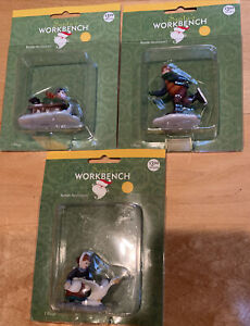 Set Of 3 - Santa's Workbench - Resin Figurines Holiday Accessory 2002