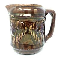"""Antique Brush McCoy Pottery Pitcher Brown Woodland Avenue of Trees Large 8.75"""""""