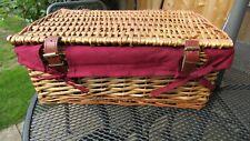 Wicker Basket Hamper with Red Cotton Liner