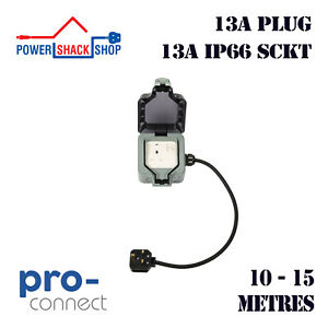 PC, EXTENSION LEAD, 13A Plug to 13A Single Weatherproof Socket, 10 - 15 Metres