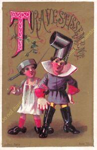 chromo illustration AUBRY PARIS humour Alphabet lettre T