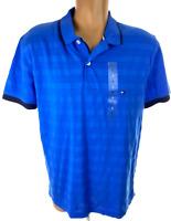 Tommy Hilfiger Polo Shirt Blue w Navy Trim Size L Regular Fit Short Sleeve NWT