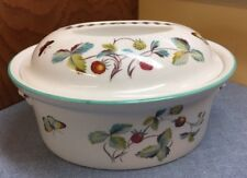 Royal Worcester Strawberry Fair 2 Qt Oval Covered Casserole Flameproof Porcelain