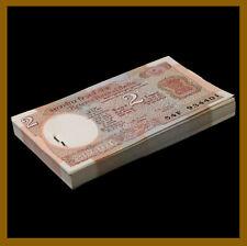 India 2 Rupees x 100 Pcs Bundle, 1976 P-79m Letter B Sig# 87 Staples Unc