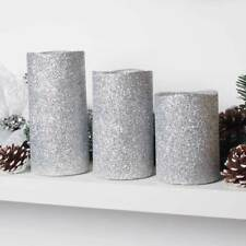 Set Of 3 LED Silver Glitter Pillar Candles Flamless Wedding Christmas Candle