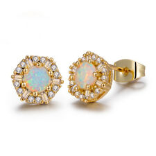 European Flower Style Gold Plated 925 Silver white Fire Opal Stud Earrings