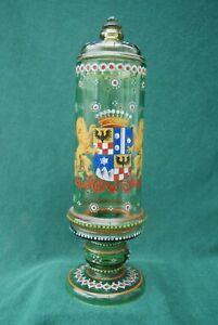 Antiker Deckelpokal, Wappenglas, Historismus, Fritz Heckert ?, Schlesien ?