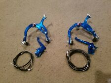 """New Blue Anodized Hand Brakes For 20""""Bmx Bicycles,Front& Rear,Mx,Complete"""