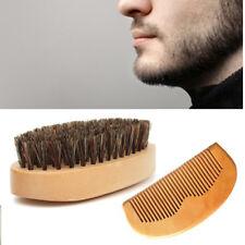 Herren Wildschweinborsten Bartbürste Mustache Borste Holz Schnurrbartkamm KIT