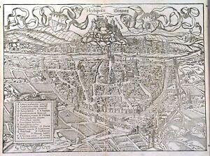 Genuine City view by Seb. Münster c. 1580s:  WÜRZBURG / Germany
