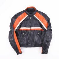 Vintage CROMWELL CLASSIC Black & Orange Racing Leather Jacket Mens Size Medium