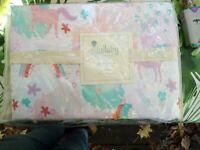NWT Unicorn Twin Duvet Set by Lullaby Bedding - Duvet & Single Sham, 100% Cotton