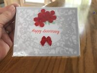 Anniversary Day Card White Lace On White Red Flowers Perfect! Handmade