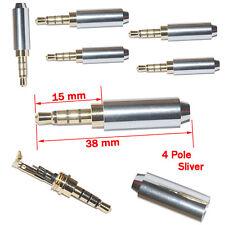 5Pcs Argenté 4 Pôle 3.5mm Mâle Réparation Prise Jack Casque Métal Audio Soudure