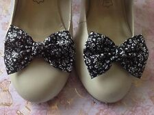 NEW PAIR BLACK WHITE FLORAL COTTON FABRIC SHOE BOW CLIPS VINTAGE STYLE HANDMADE