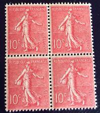France N 129 10 Rose Fonce Bloc De Quatre Fraîcheur Et Qualité Neuf ** Côté 160€