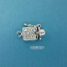Sterling Silver 1 Str. CZ Crystal Rectangle / Square Box Clasp Connector #33251