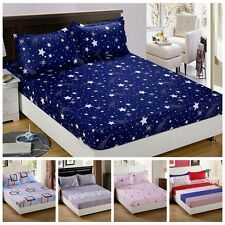 Fitted Sheet Floral Color Twin Full Queen King Cotton Bed Sheet Cover 3 Size Hot
