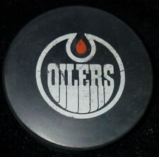 WHA EDMONTON OILERS MADE IN CANADA VINTAGE OLD USED OFFICIAL GAME PUCK