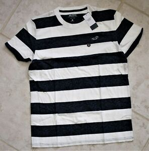 Hollister California Must-Have White/Heather Navy Stripe Small Cotton Tee Shirt
