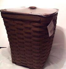 2017 Medium Square Waste Small Hamper Laundry Basket Rich Brown Lid Longaberger