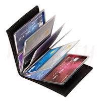 PC Wallet Amazing Slim RFID Blocking Case Black Leather 24 Cards Gift