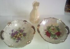 Lot of 3 ~ 2 Vtg Collector Plates W/ Flowers & 1 Bud Vase All w/ Gold Highlights