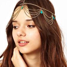 Boho Headband Metal headwear Bohemian Turquoise Tassel Headband Head Chain