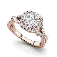 Infinity Halo 1.55 Carat VS2/D Round Cut Diamond Engagement Ring Rose Gold