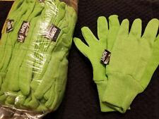 LOT Dozen Cloth Gardening Gloves with PVC Dots Green, Blue or Light Beige