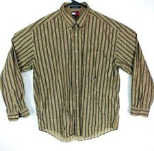 Tommy Hilfiger shirt mens brown white pinstripe causal dress large long sleeve