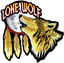 Lone Wolf Howling At The Moon Feathers Biker Patch FREE SHIP