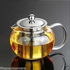 20 Oz Stove Tea Kettle Clear Glass Teapot with Infuser Flower Herbal Tea Maker