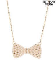 NWT Aeropostale Bethany Mota Pearl Bow Short-Strand Necklace Gold-tone White NEW