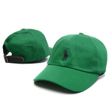 Polo Pony Green Embroidered Cotton Sport Leather Strap Back Adjustable Hats Cap