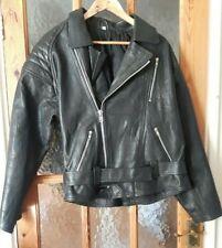 "Mens Black Leather Biker Motorcycle Jacket Size:L - 46"" Chest"