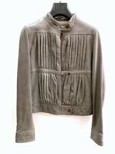 Mauro Grifoni Leather Jacket Woman Size 42 Grey Medium 25561