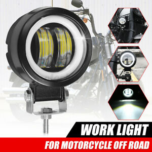 3'' 12V 24V Round LED Angel Eye White Work Light Waterproof For Motorcycle Truck