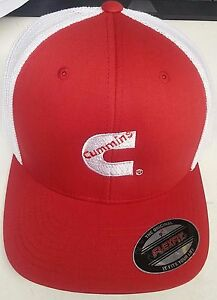 red Dodge Cummins truckers mesh summer cummings hat ball cap fitted flex fit