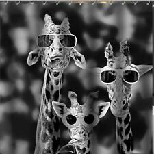 Giraffe's Wearing Sun Glasses Bathroom Shower Curtain 180cm x 180cm Polyester