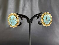 Beautiful Vintage Gold-tone Turquoise Colour Clip-on Earrings by Coro Jewellery