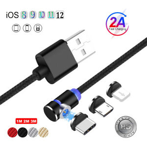 360° L Magnetic Micro USB Type C Fast Charger Cable For iPhone 7 Samsung Android