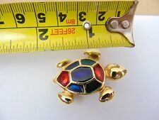 Gold Tone Turtle Tortoise Brooch with coloured stones enamel - costume jewelry