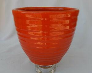 "Vintage Bauer Pottery Orange Ringware Planter Vase, Pot 7 1/2"" Tall"