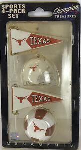 Texas Longhorns Champion Treasures Sport 4-Pack Christmas Ornaments NIB