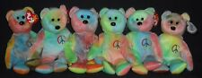 GORGEOUS TY PEACE (TIE DYE) the BEAR BEANIE BABY LOT of 6 - MINT with TAGS #2