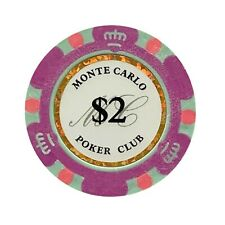 NEW 100 Light Purple $2 Monte Carlo Smooth 14 Gram Clay Poker Chips - Exclusive