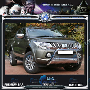 FIT MITSUBISHI L200 BULL BAR CHROME NUDGE PUSH A-BAR STAINLESS STEEL 2015-2019